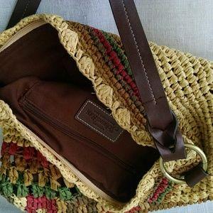 St. John's Bay Bags - St. John's Bay  Straw & Leather  Handbag
